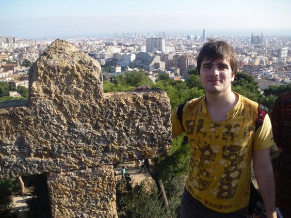Moi à Barcelone au parc Guell